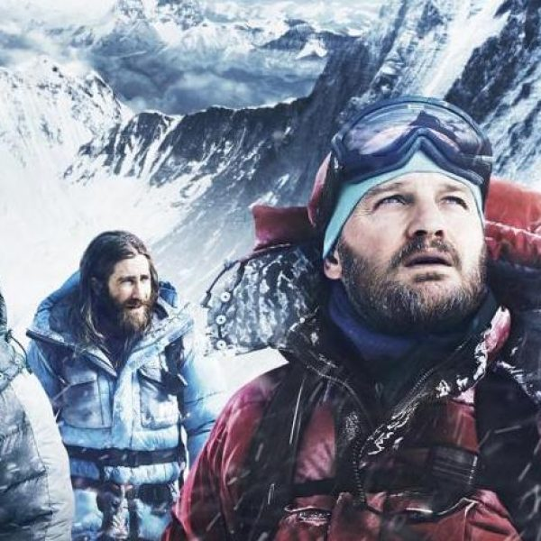 Everest Poster with Men on Mountain
