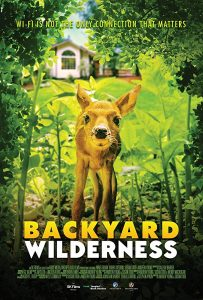 backyard wilderness poster, with an imager of a deer sniffing at the viewer