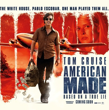 Tom Cruise walks away from an airplane, carrying a bag of money that is spilling out. The White House, Pablo Escobar, One Man Player. Tom Cruise - American Made - Based on a true lie.