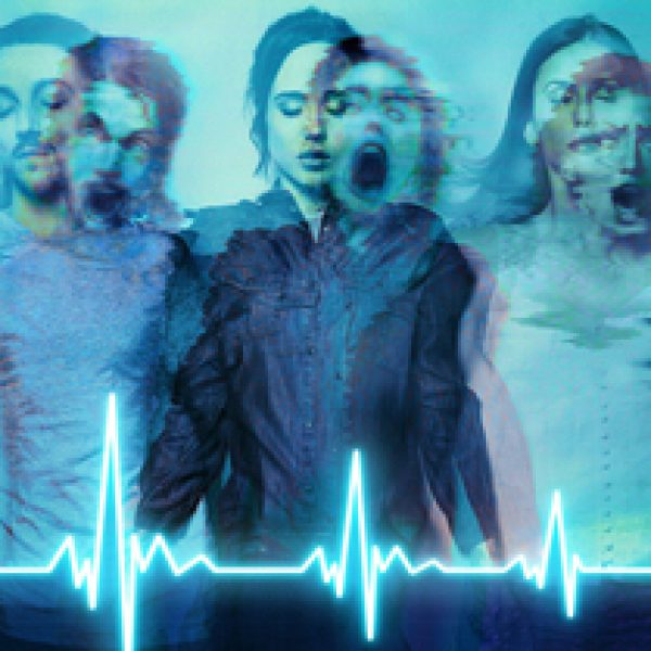 Flatliners Poster with cast, mouths open screaming, but also with eyes closed