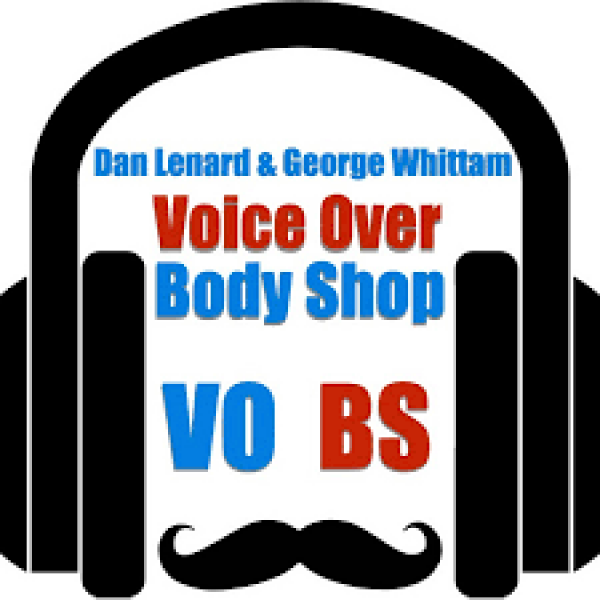 dan Lenard & George wittam voice over body shop vo bs surrounded by a headphone and mustache