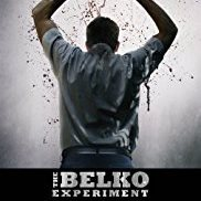 The Belko Experiment showing the back of a man with his hands over his head and drops of blood falling down from them