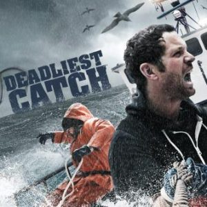 Deadliest Catch showing fisherman battling the sea on board their ship with seagulls overhead