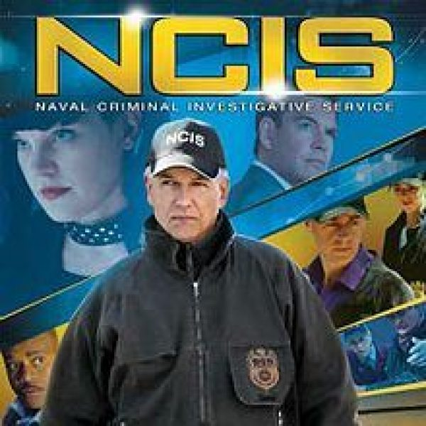 NCIS Season 13 showing lead actor Mark Harmon in the foreground with other cast members around and behind him, including Pauley Perrette and Michael Weatherly