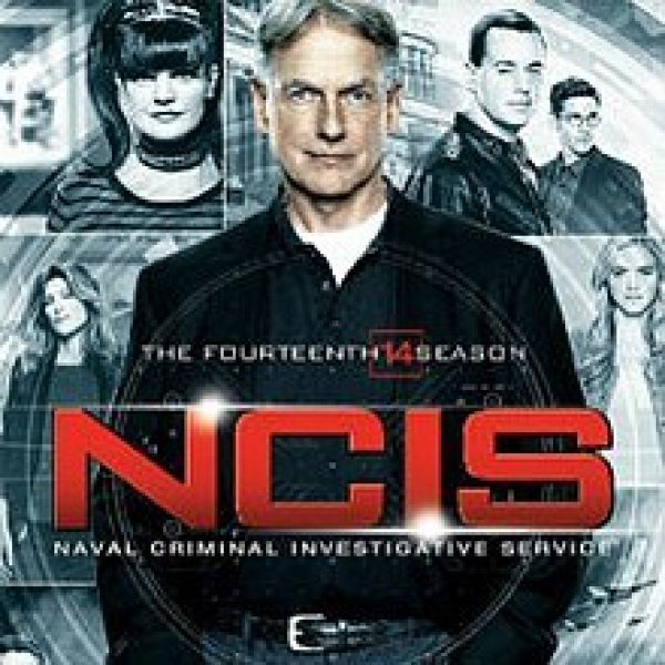 NCIS Season 14 DVD cover with lead actor Hark Harmon in the foreground and other cast members behind and around him, including Pauley Perrette and Sean Murray