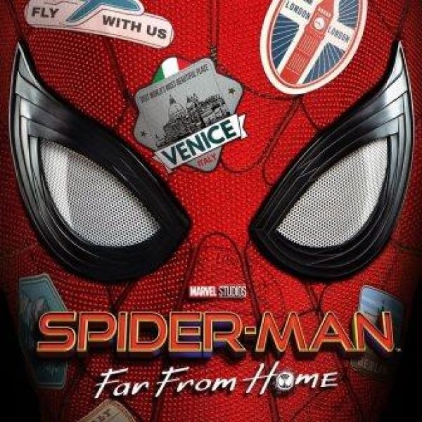 Spider-Man: Far From Home with red spider-man mask and travel stickers