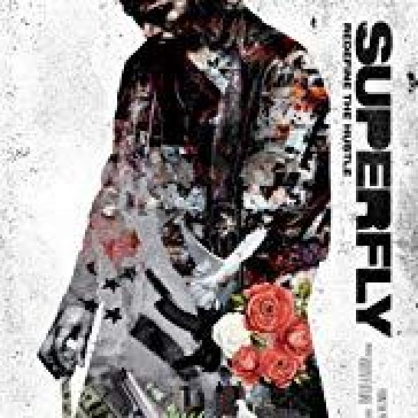 Superfly remake with three quarter outline of lead actor Trevor Jackson in a trench coat looking down