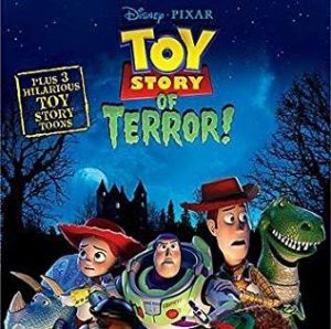 Toy Story Of Terror! DVD cover showing a scared Buzz, Woody & others