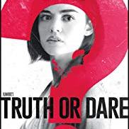 Truth Or Dare poster with title and actress Lucy Hale's face inside a big red question mark