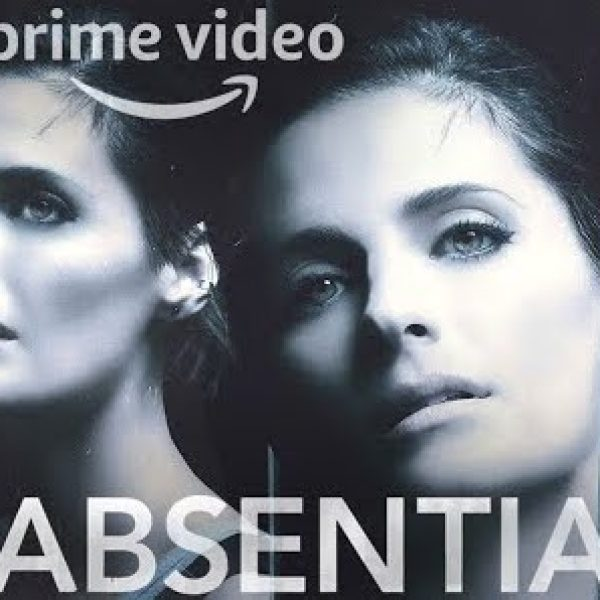 """two faces of Stana Katic, text """"prime video Absentia"""""""