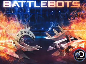 Battlebots discovery with sparks and fire on the edges