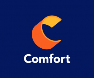 "Comfort with an orange and yellow 3d letter ""C"""