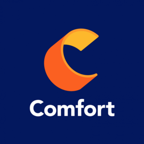 """Comfort with an orange and yellow 3d letter """"C"""""""