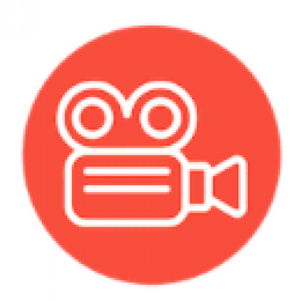 a vector film camera in front of an orange circle