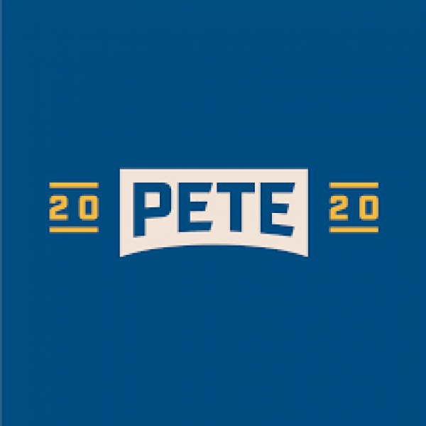 Logo Pete over a white bridge shape, between the numbers 20 and 20