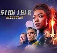 Star Trek Discovery with characters faces and a falling star emblem