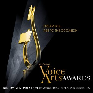 Voice Arts Awards with a gold statue of a microphone and music stand.