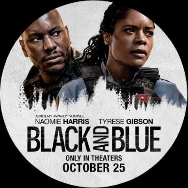 A circular image with Naomie Harris and Tyrese Gibson
