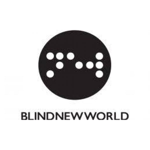 BlindNewWorld logo with braille inside a black circle