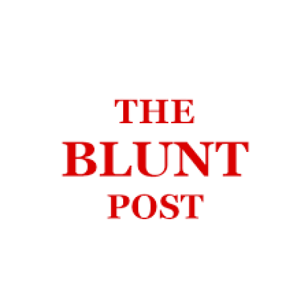 "Red letters on white background read ""The Blunt Post"""