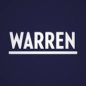 "White letters on a blue background"" ""Warren"" underlined"