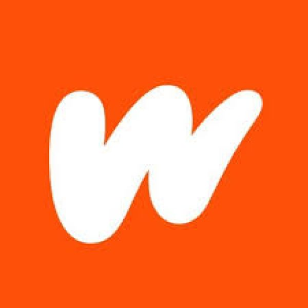 "a white, thick hand drawn ""W"" on an orange background"