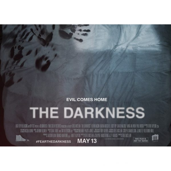 The Darnkness movie poster - black handprints cover a misty forest: The title evil comes home