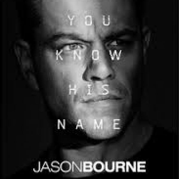 "You Know His Name: Jason Bourne"" with a black and white photo of Matt Damon"