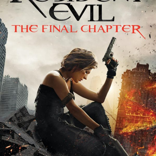 Resident Evil The Final Chapter - a woman slouches holding a gun. The background features collapsing and on fire.