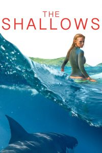 Blake Lively standing in the ocean with great white shark in the water below.