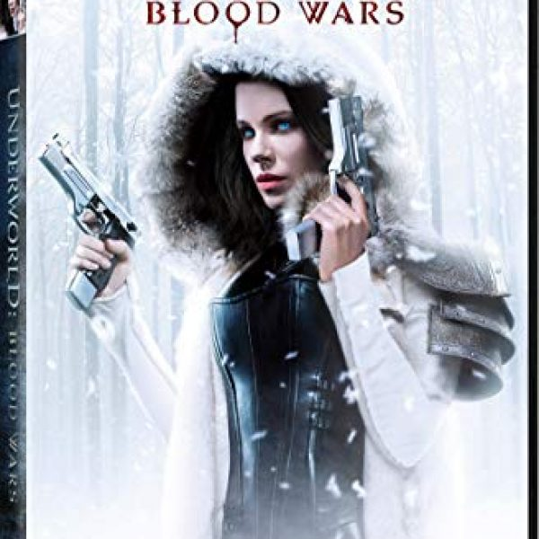 "Underworld: Blood Wars with Kate Beckinsale holding two guns, wearing a black leather outfit underneath a winter coat. ""Protect The Bloodline"""