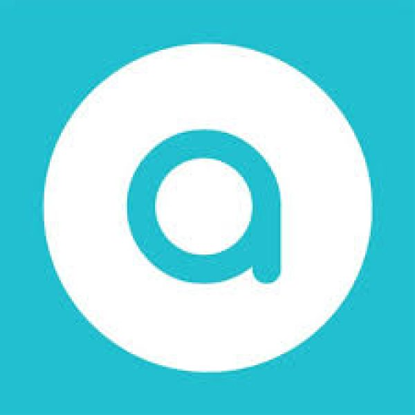 "a small letter ""a"" within a white circle on an aqua background"