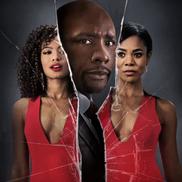 When The Bough Breaks with Morris Chestnut, Regina Hall, and Jaz Sinclair. The three actors are separated as if in a broken mirror.
