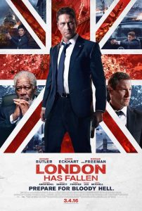 Aaron Eckhart standing front and center behind small vinettes of the other actors in different scenes all tucked in the UK flag.