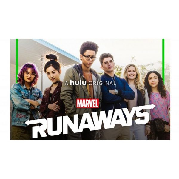"The 6 teenage characters, with text ""Marvel Runaways"""