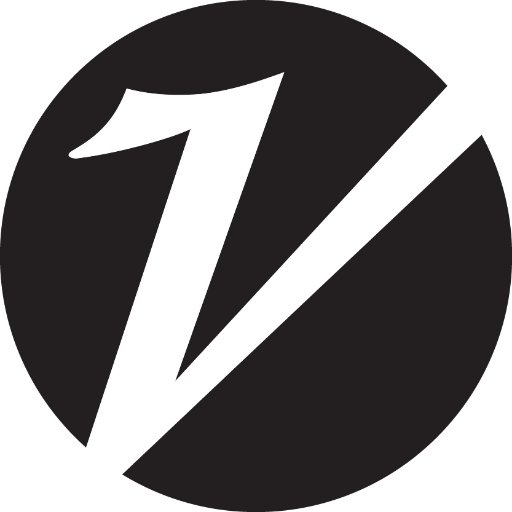 "a slanted letter ""V"" within a black circle"