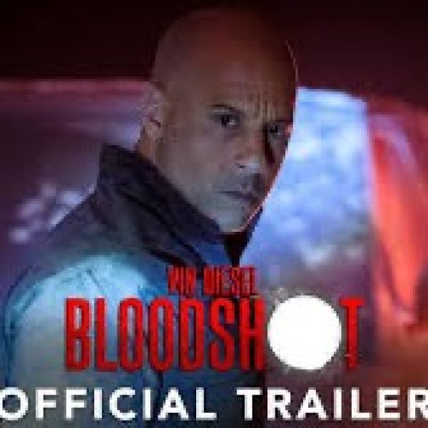 "Bloodshot official trailer. Vin Diesel looks at camera. The ""o"" in bloodshot is whited out like a gunshot"