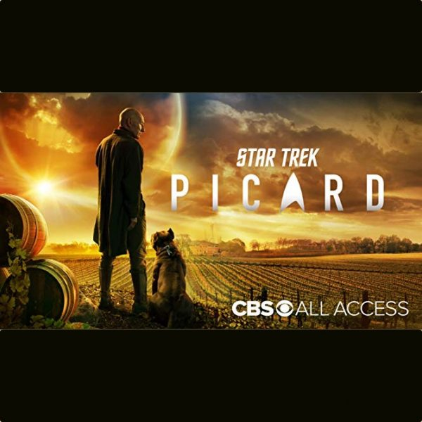 Star Trek Picard CBS All Access. Jean Luc looks down at a dog, in front of a vineyard, lit by a vast sunset