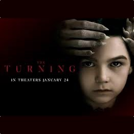 The Turning. demonic fingers hold a girl's forehead as she stares sullenly at us