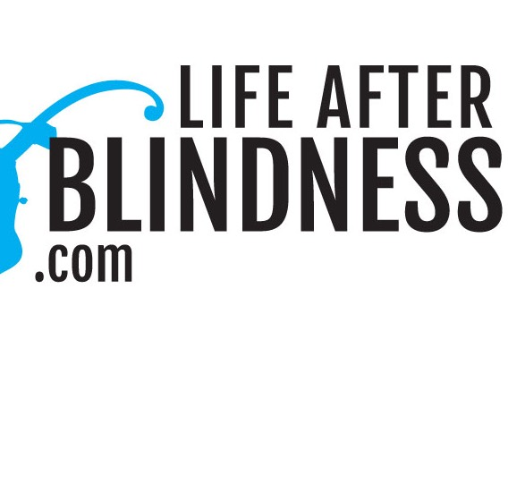 LifeAfterBlindness.com with a blue paint splash along the left side