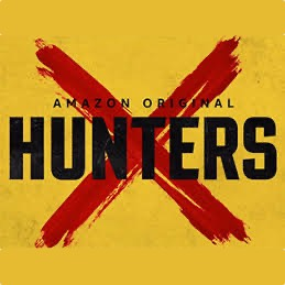 "A yellow background with a bloodied letter X crossing out the words ""Amazon Original HUNTERS"""