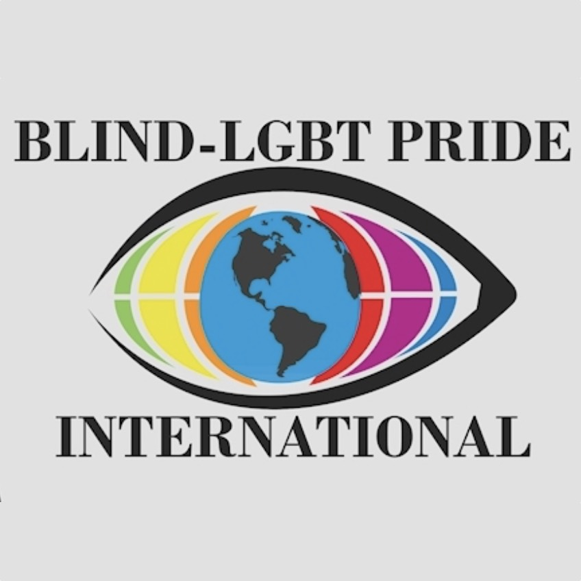 An eyeball with rainbow colors surrounding a globe iris: Blind-LGBT Pride International