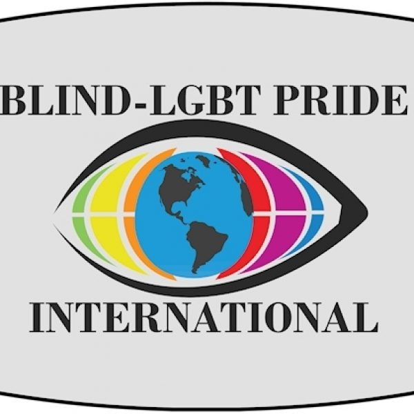 Blind-LGBT Pride international - a logo as an eyelid, the globe is the iris, surrounded by rainbow colors.