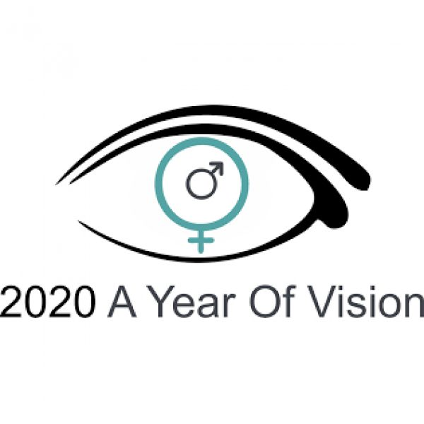 Logo of an eyelid, the iris with symbols male and female: 2020 A Year Of Vision
